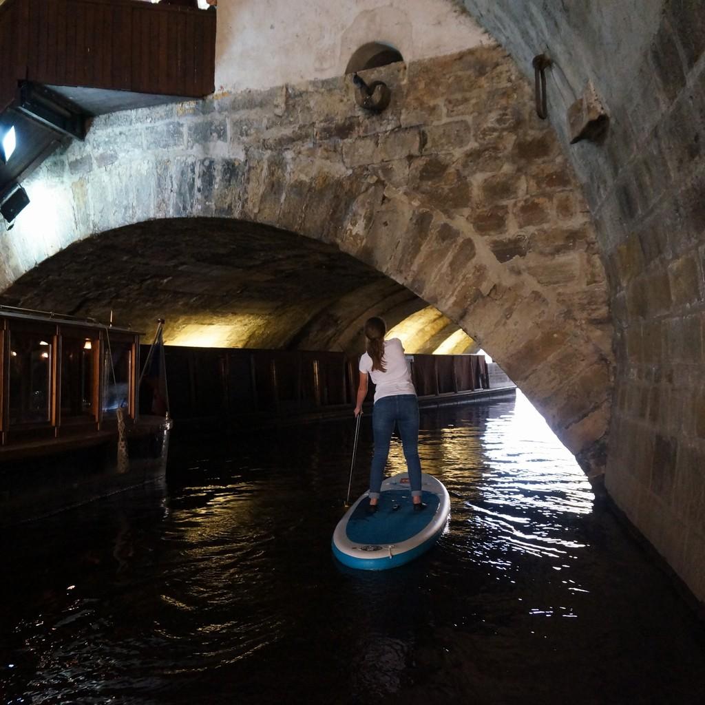 Judith Bridge in Prague on paddleboard